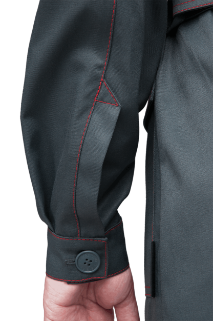 Халат КМ-10 ЛЮКС, серый-красный