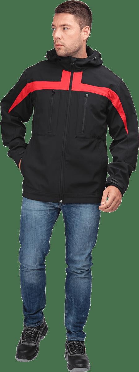 Куртка СОФТШЕЛЛ, черный-красный